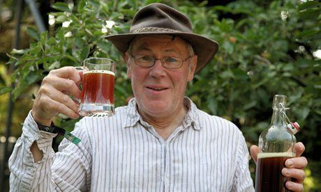 John Wright samples his homemade heather beer