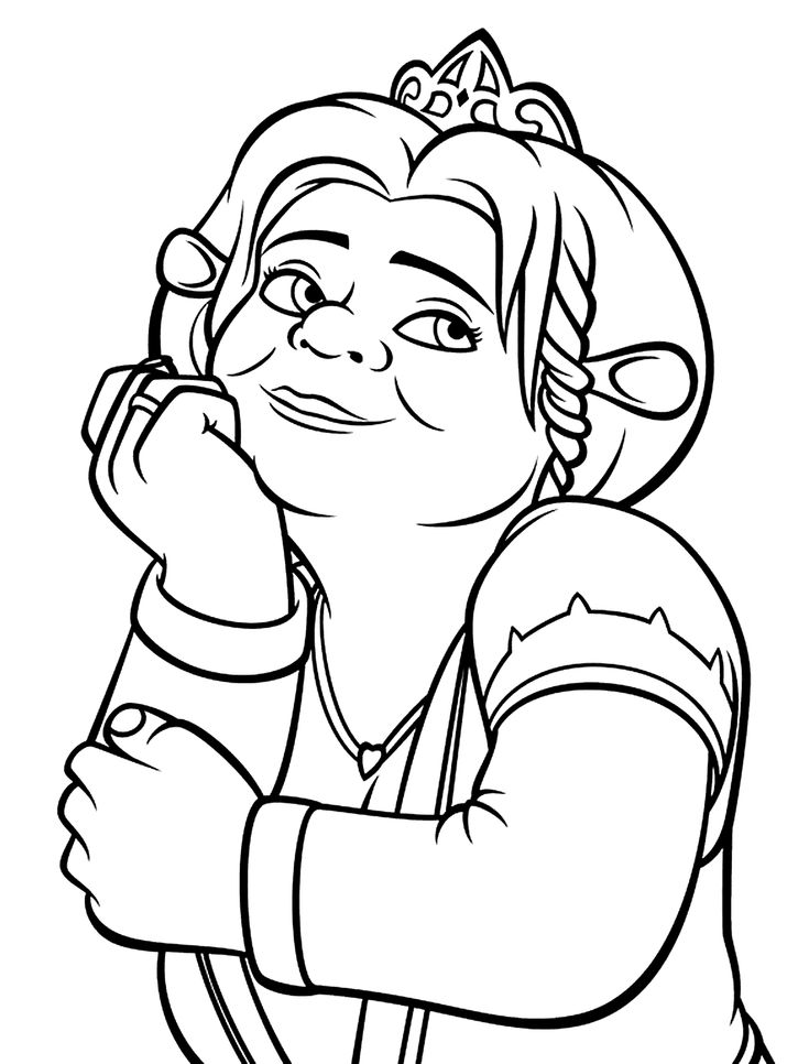 Princess Fiona coloring pages for kids, printable free