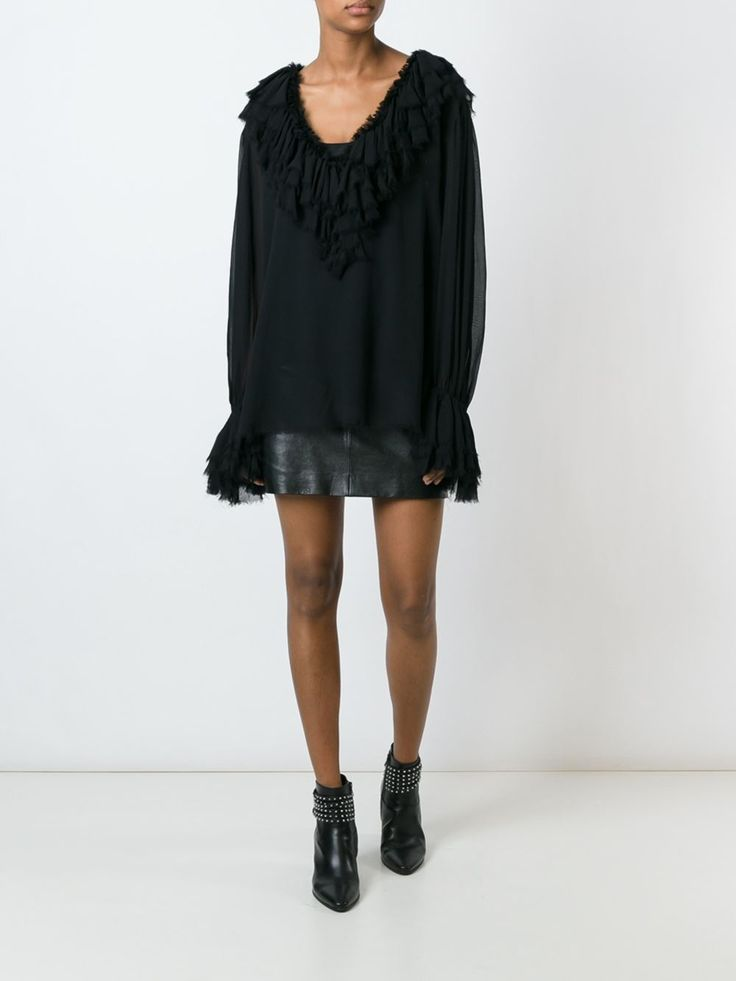 Moschino Vintage прозрачная блузка с оборками