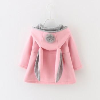 ac89137bc062 Sweet Rabbit Ears Hooded Long-sleeve Coat for Baby Girls