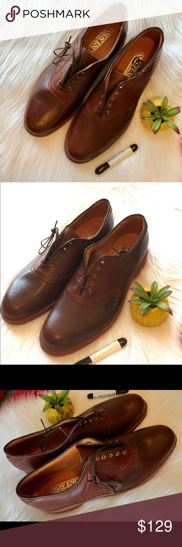 Men's Lands End Brown Leather Dress Saddle Shoes Men's lands' end brown leather dress saddle shoes lace up size 13 M vintage. NIB. Genuine leather. Have a non skid vibran sole never wore made in USA original Lands' End Shoes Oxfords & Derbys