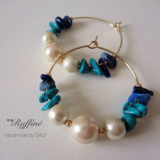 pearl × blue mix hoop by SAO* アクセサリー ピアス