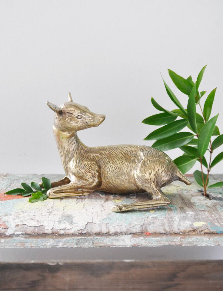 Vintage Brass Deer Figurine - seated doe lying down gold metal animal paper weight - woodland home decor by CuriosityCabinet on Etsy