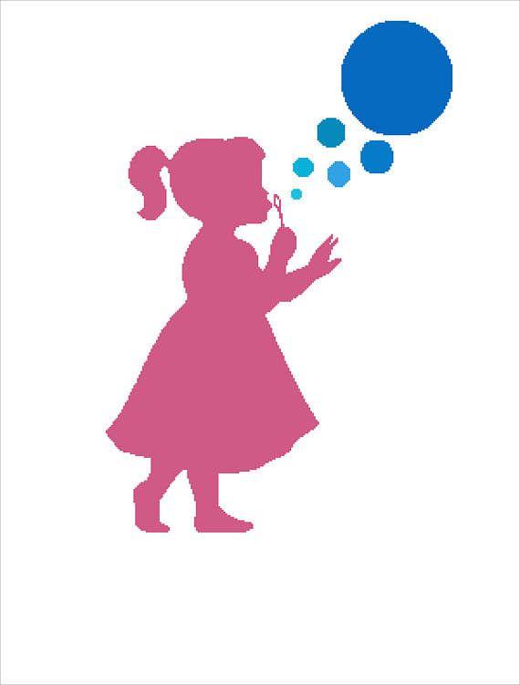 Buy 2 Get 1 Free-Modern cross stitch pattern-PDF pattern-Little Girl with Bubbles-portrait-Silhouette Pattern-gift-decor-Instant Download