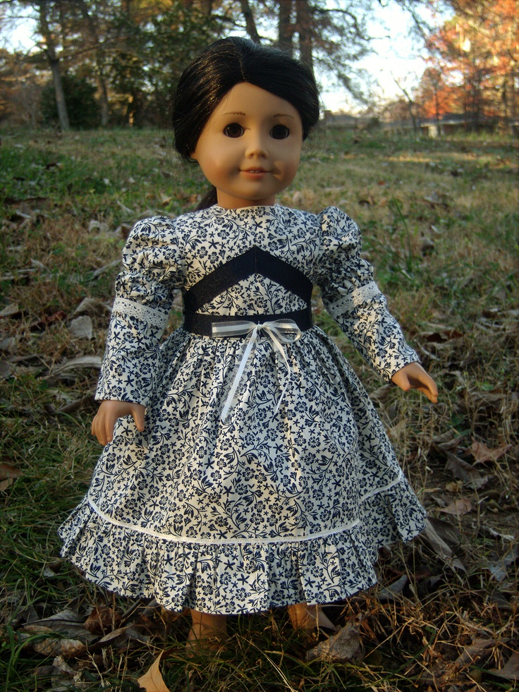 Navy & Cream 1850s-1860s Day Dress Cecile Marie-Grace Addy American Girl Dolls | eBay