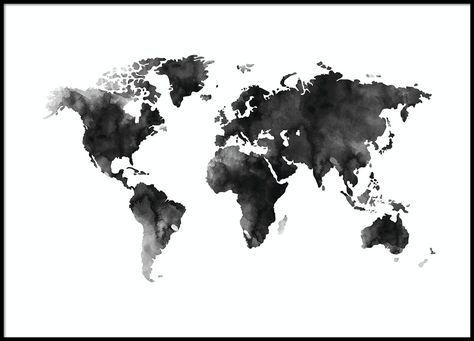World Map Watercolor, poster in der Gruppe Poster / Karten und Städte bei Desenio AB (8451)