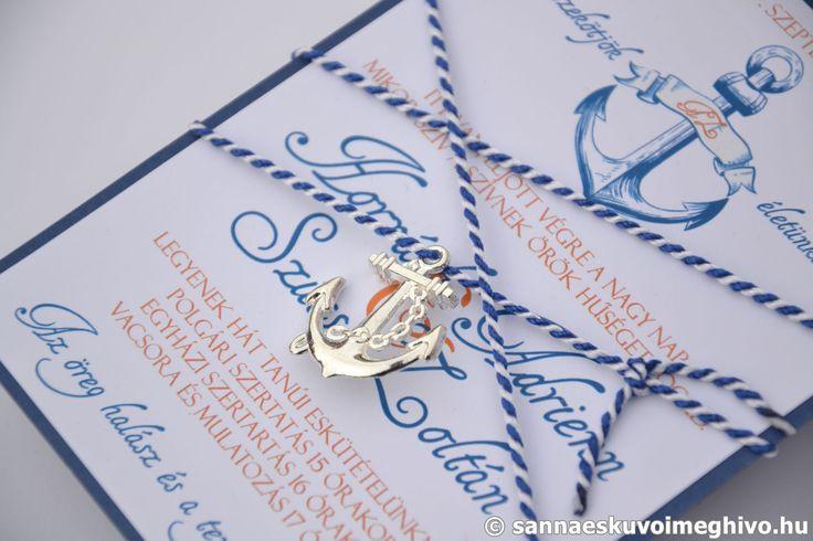 Az Adria hullámain esküvői meghívó, meghívó, díszes esküvői meghívó, kék esküvői meghívó, szalagos esküvői meghívó, sannaeskuvoimeghivo, egyedi esküvői meghívó, wedding card