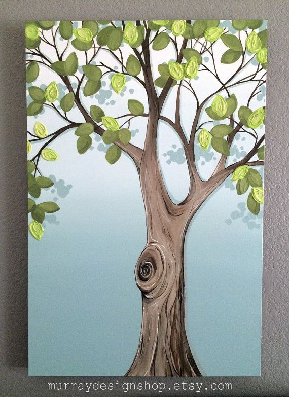 painting blue and green tree 20x30 textured wall art large acrylic painting on canvas