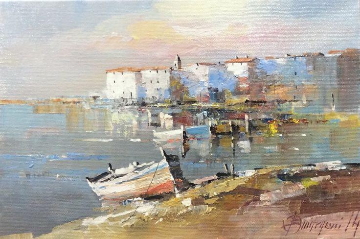 Branko Dimitrijevic, Boat, Oil on Canvas, 20x30cm