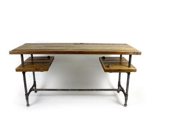 Reclaimed Wood Computer Desk // Weathered Barn Wood // Aged Steel Pipe via Etsy