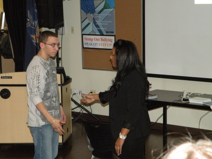 Priscilla Gonzalez, a Berkeley College admissions counselor demonstrated the appropriate handshake strength to 3-D Animation and Design program student Alex Worth from Walter Panas. Gonzalez was on campus to offer job interview tips to students.