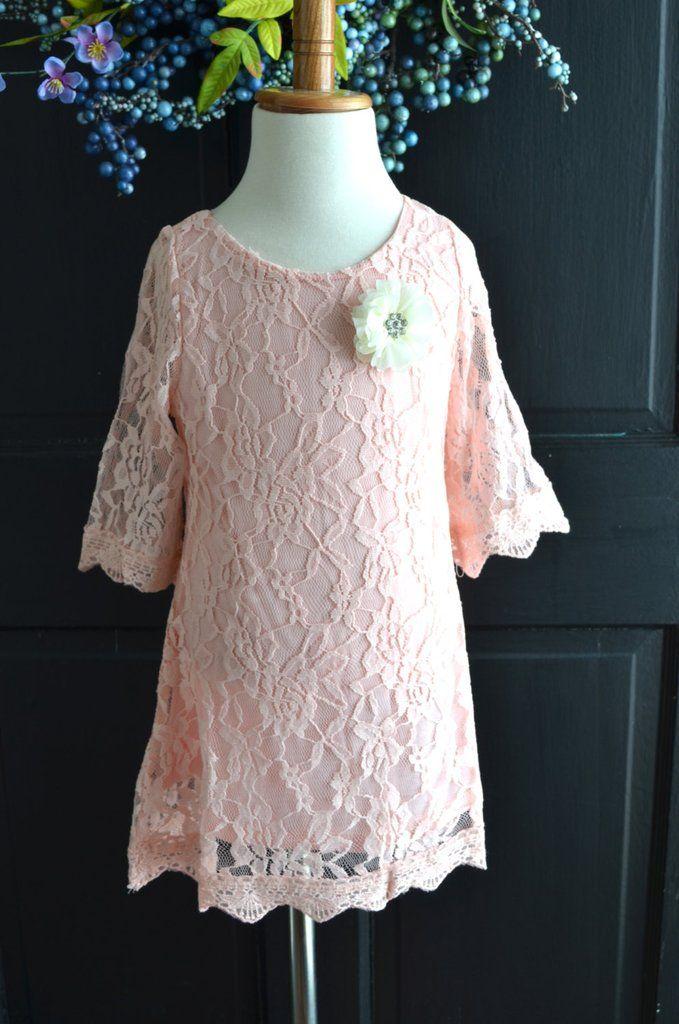Pink Lace Flower Girl Dress, Lace dress,  Wedding dress, bridesmaid dress,  Blush Pink, Vintage Style Dress Tutu