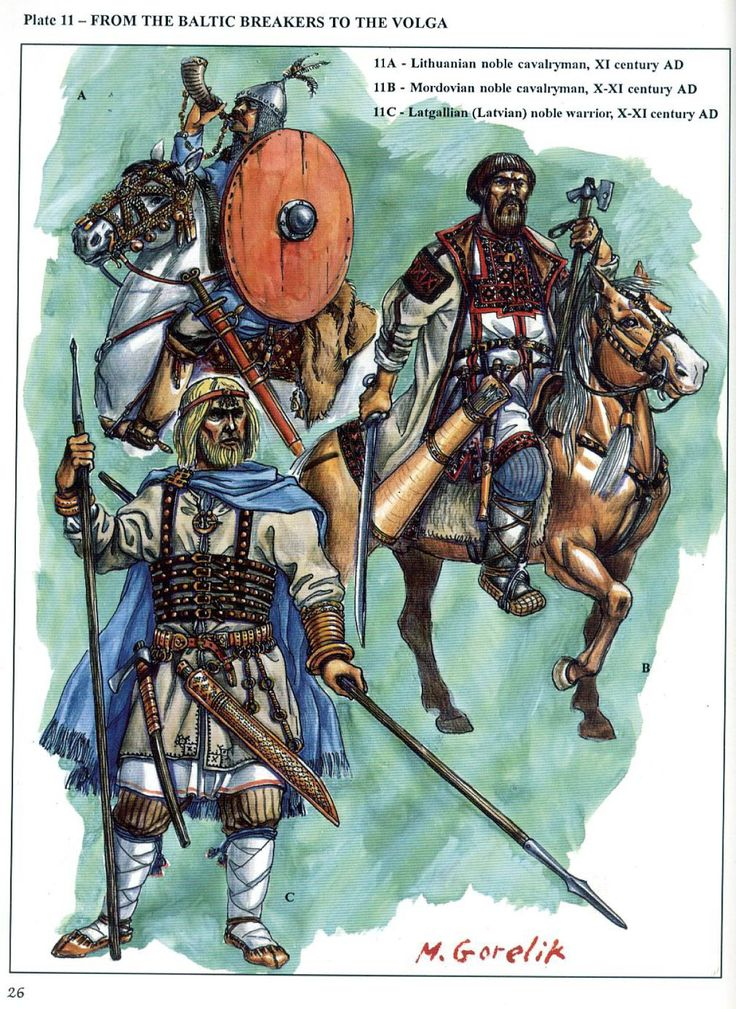 Warrior from the Baltic Breakers to the Volga. A-Lithuanian/B-Mordovian/C-Latgallian(Latvian)
