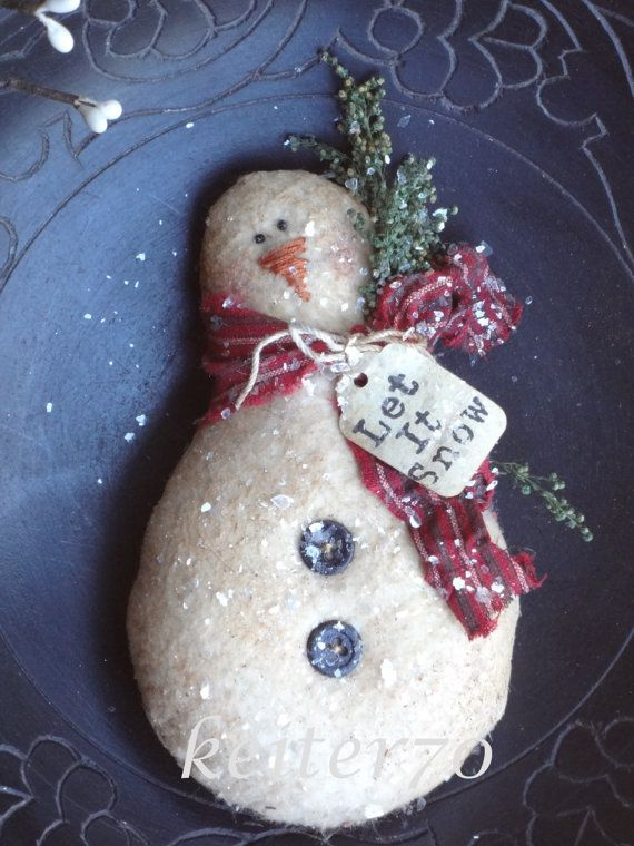 Primitive Christmas Snowman Ornies Bowl Filler by keiter70 on Etsy