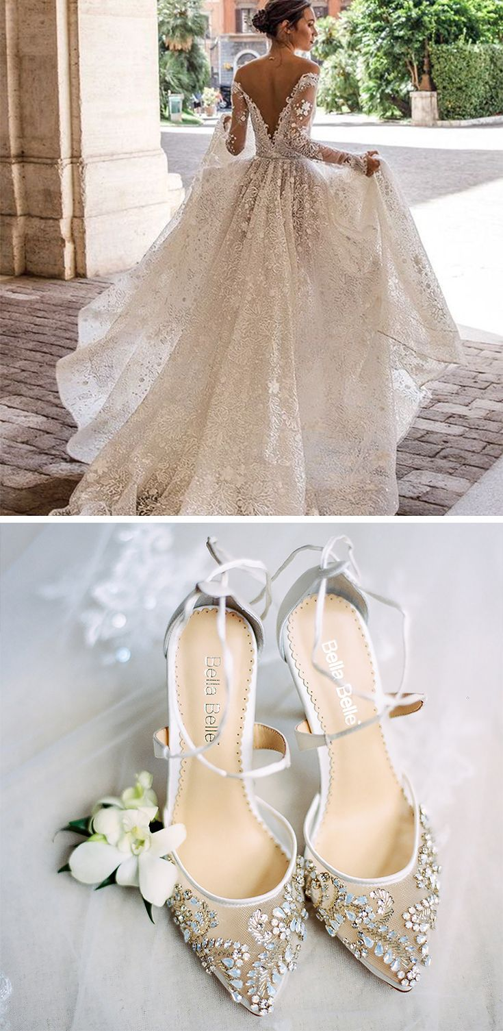 Florence Crystal Embellished Ivory Wedding Shoe Lace Wedding
