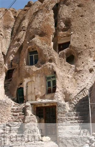 Troglodyte village in IRAN  700 years old - In the north west of Iran at the foot of Mount Sahand in Kandovan, The villagers live in cave homes carved out from the volcanic rock. The age of some houses is more than 700 years.