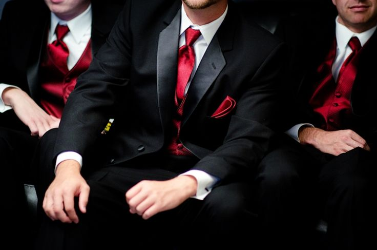 Groomsmen details, red on black, great pose for groomsmen