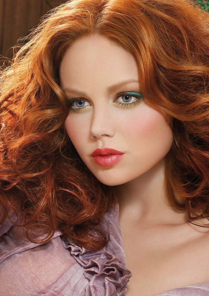 Midlength red hair, curly  + green eyes + coral lips + melancholic mauve