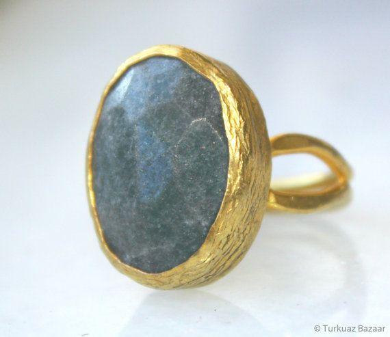 Hurrem Solitaire Labradorite Stone Ring set in by TurkuazBazaar, $50.00