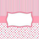 lunares rosados y tarjeta de invitación de las rayas Imágenes de archivo libres de regalías