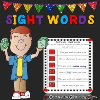 Sight Words Roll a Die - Sight Words Roll a Die pack is a fun and interactive way for students to learn their sight words! There are 6 vibrantly colored sight word dice games to laminate and use in your classroom. Students simply roll a die and complete the activity for that number.