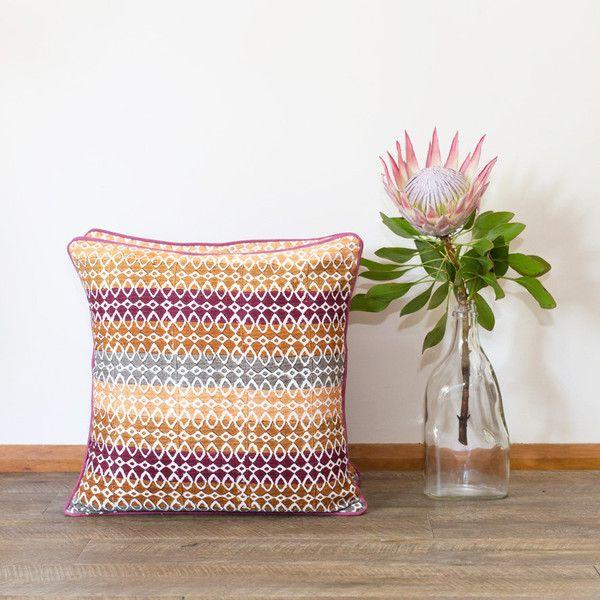 Block print cushion - Moroccan Sunset | The Woven Trail