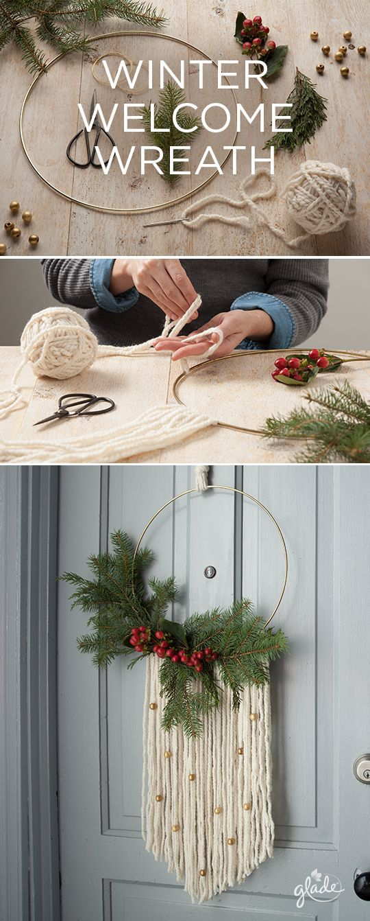Greet friends with the joy of the season by making your very own modern wreath. All you need is some spruce, yarn, and little bit of joy. It's a DIY that warms the hearts of every holiday guest. See how to make this for yourself. Feel Joy. Feel Glade.