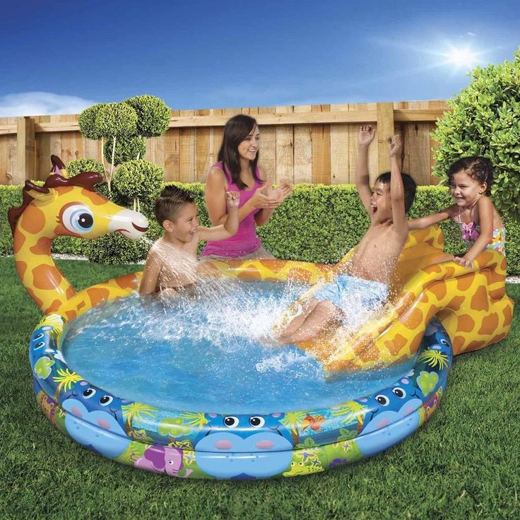 Inflatable Swimming Pool Baby Kids Water Spray Slide Summer Backyard Outdoor Fun #InflatableSwimmingPool