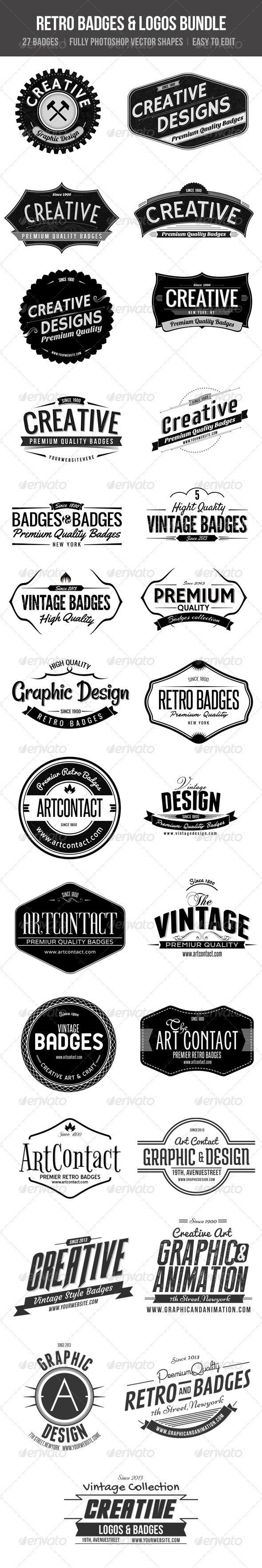 Retro Badges& Logos Bundle - Badges & Stickers Web Elements