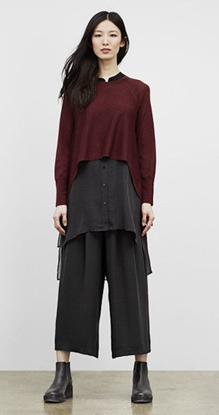 Our Favorite Fall Looks & Styles for Women | EILEEN FISHER   Unstructured layers but soft and fluid, high low hem of crop top adds movement/interest. Volume plus volume should be a no. Similar vertical proportions, less conventionally flattering but works for me.