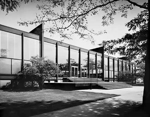 A defining structure of 20th-century modern architecture, this is one of the masterpieces of the world-reknowned architect Ludwig Mies van der Rohe. Designed to house Illinois Institute of Technology's departments of architecture, planning, and design, the building's dramatic, structurally-expressive form resulted from the need to create an open interior space that could be flexibly adapted for changing needs and uses. Instead of interior columns, the roof is hung from exposed steel trusses…