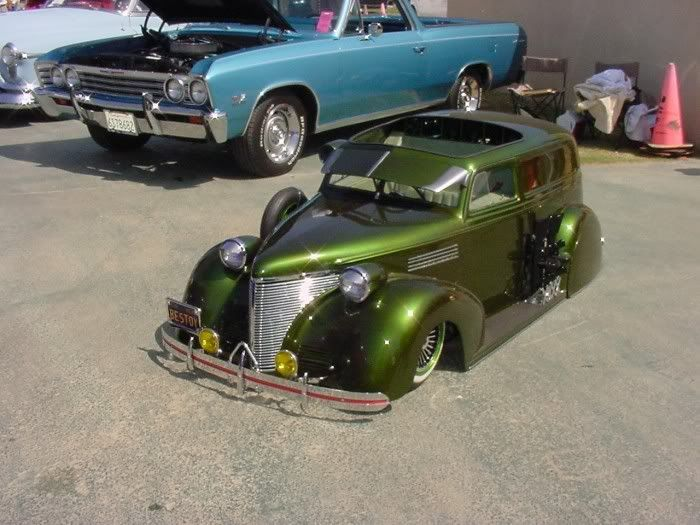 Vintage custom lowrider pedal car. Holy camol lucky kid