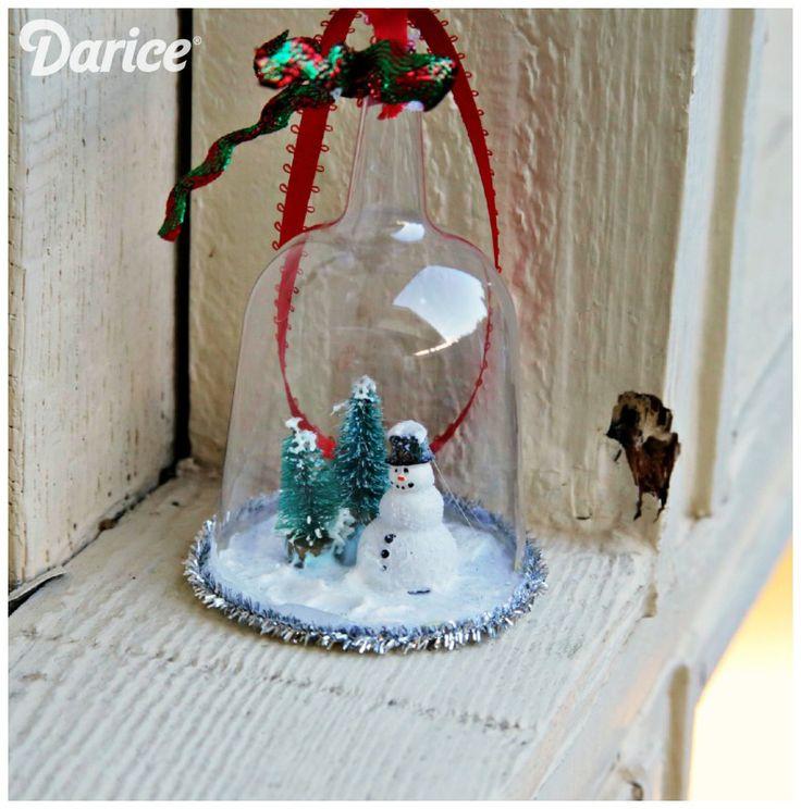 Diy snow globe christmas ornaments darice crafts kid for Easy homemade christmas snow globes
