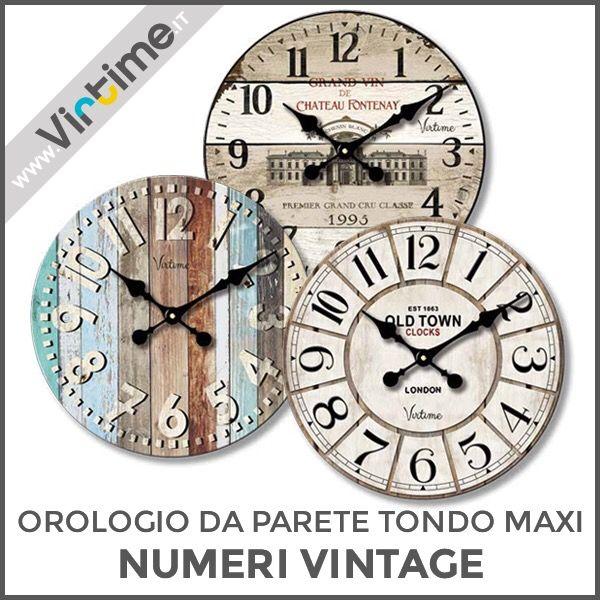 """Orologio da parete tondo maxi. Cassa/Quadrante in legno. Modello """"Numeri Vintage"""" in 3 versioni assortite. Movimento al quarzo Step. Confezione: Window Box """"Virtime"""" Dimensioni: Diam. 58 cm Ref.: 1138/05 #Virtime #virtimeclock #virtimehome #milan #italy #italiandesign #interiordesign #decoring #italianfurniture #house #homeart #time #clock #orologio #wallclock #wood #colors #numers #butterfly #flowers #angels #shape #square #circle #oval #rectangle"""