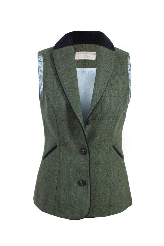 'Chloe' tweed waistcoat in a fresh medium green with a navy windowpane check. A waistcoat that can be used as a sleeveless jacket. Made in Britain.