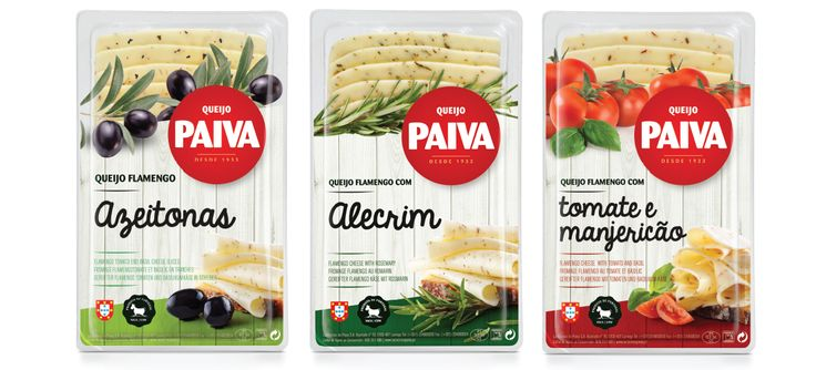 Gama de queijos fatiados com sabores Paiva #packaging #design #food #cheese #flamengo #olives #rosemary #tomato #basil