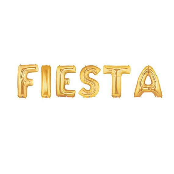 Fiesta Letter Balloons Party Gold Cinco De Mayo Mexican Inspired Drinko