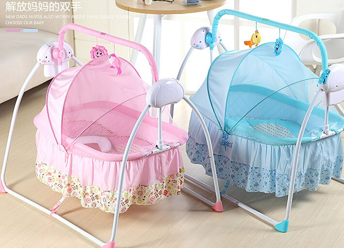 Baby cradle. Electric cradle bed. Multifunctional foldable baby's cradle.