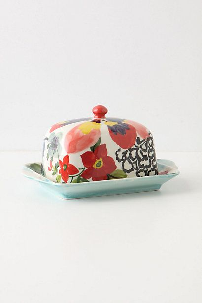 Painted Amaryllis Butter Dish - anthropologie.com