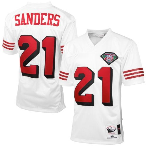 3c3a9f27677 ... Mens San Francisco 49ers Deion Sanders Mitchell Ness White Authentic  Throwback Jersey NFL Jerseys Pinterest San ...