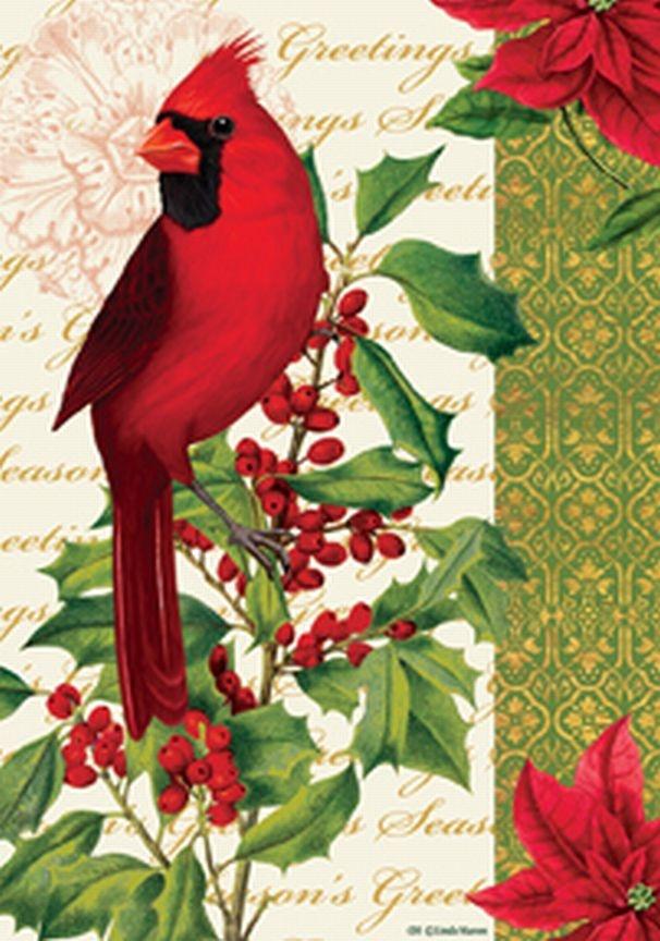 Winter Cardinal And Holly Garden Flag