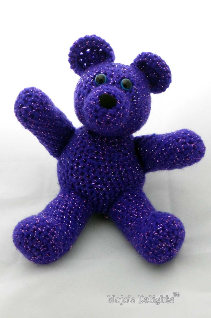 Crochet Bear - Purple Glitter Yarn by MojosDelights on Etsy