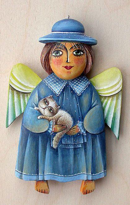 """Миниатюра ручной работы. Ярмарка Мастеров - ручная работа Ангел """"Девочка в шляпке с котом в руках"""". Handmade."""