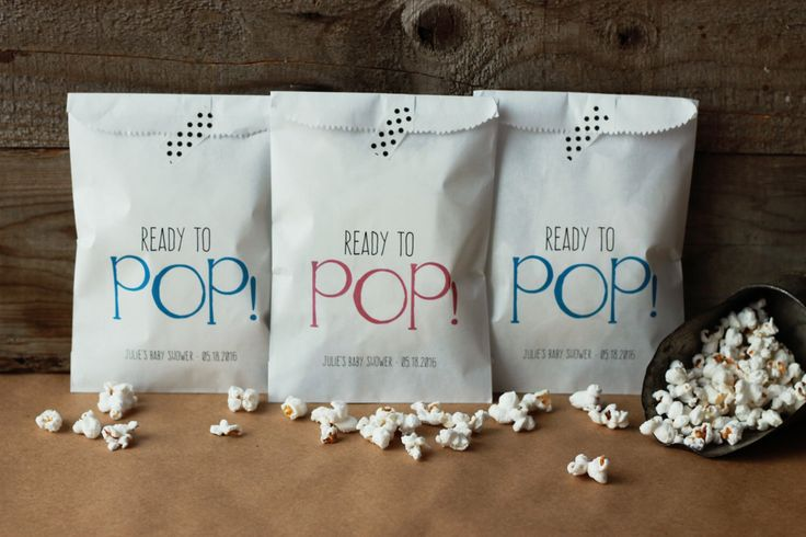 Baby Shower Favor Bags - Ready to Pop Favor Bags, Popcorn Bags by GiveItPretty on Etsy https://www.etsy.com/listing/266974482/baby-shower-favor-bags-ready-to-pop
