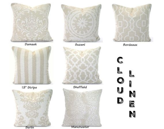 Tan Off White Decorative Pillow Covers By PillowCushionCovers