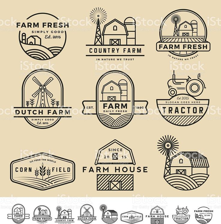 Set of vintage and modern farm badge logo and labels