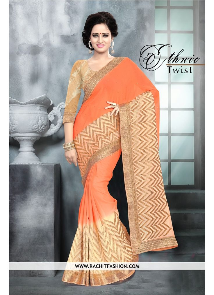 Experience the change in style with our pure chiffon orange saree and let all eyes to follow you.