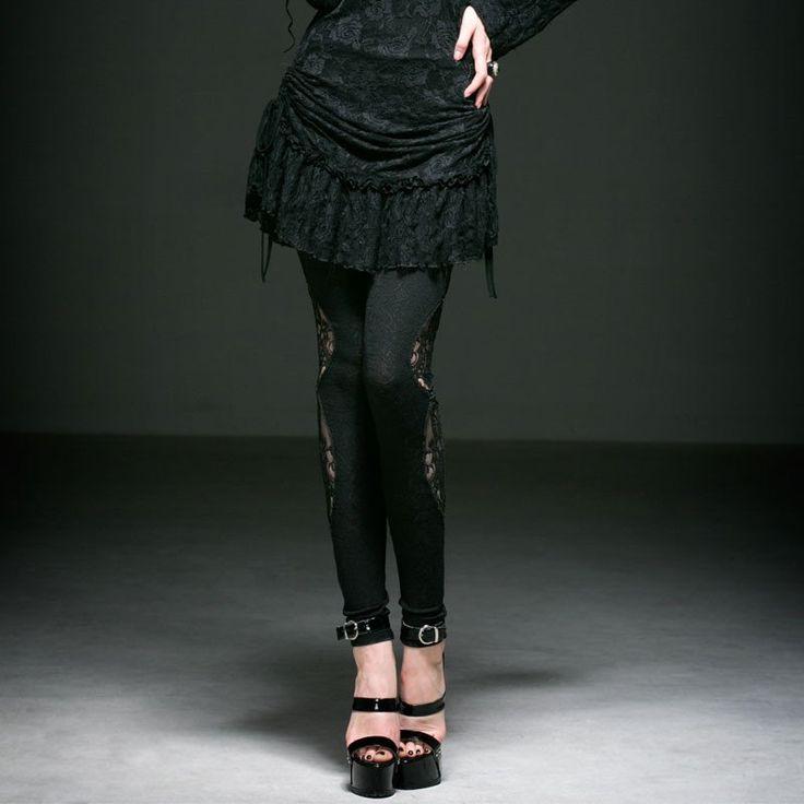 Punk Rave Gothic Style Kinted Dark Fringe Jacquard Legging Lace Solid Ankle-Length Leggings