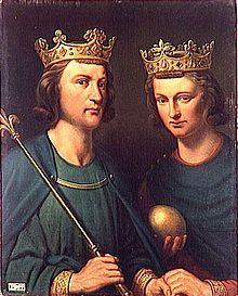 Portrait de Louis III et Carloman II par Charles de Steuben (1837). Louis III (entre 863 et 865 – 5 août 882) est roi des Francs de 879 à 882. Il règne sur la Francie occidentale aux côtés de son frère cadet Carloman II, qui lui survit et règne seul après sa mort. Carloman II né vers 867, mort le 6 décembre 884 à Lyons-la-Forêt, roi des Francs de 879 à 884, fils de Louis II dit le Bègue et d'Ansgarde de Bourgogne.