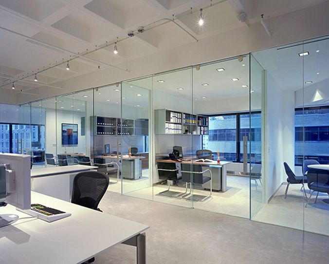 modern office design glass walled offices on window wall - Office Space Design Ideas